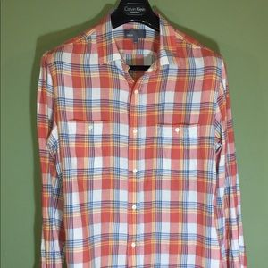 Vince of Vince Camuto 75/25 cotton/linen plaid top